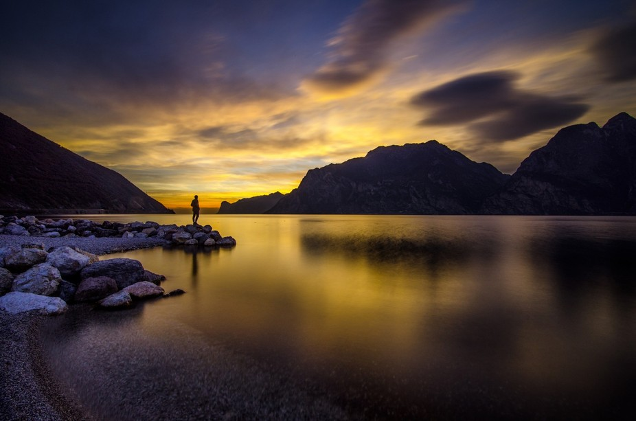 An awesome sunset captured on lake Garda, from Torbole sul Garda, TRentino, Italy.