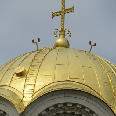 A shot of the top of the dome of the Alexandre Nevsky Cathedral, Sofia, Bulgaria.