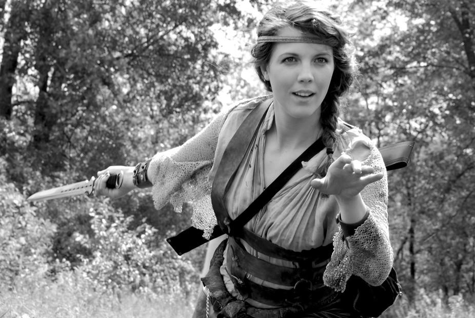 Beautiful Princess Warrior shot during a film shoot