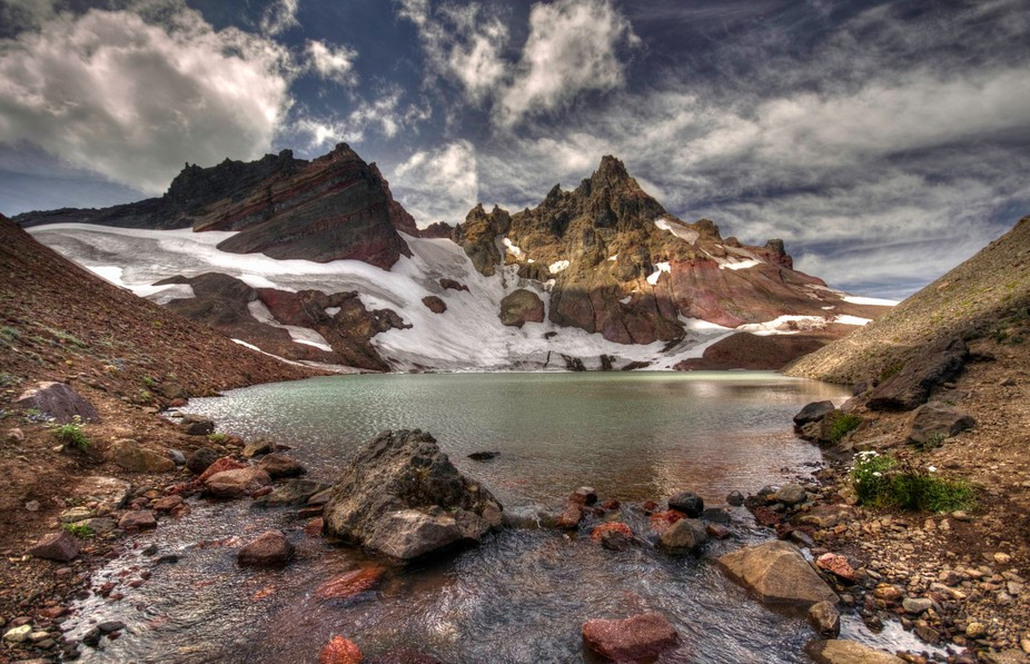"A view from ""No-Name Lake"" at the base of Broken Top, in the Oregon Cascades"