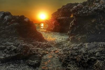 Amazing sunset at the beach of Baska Voda