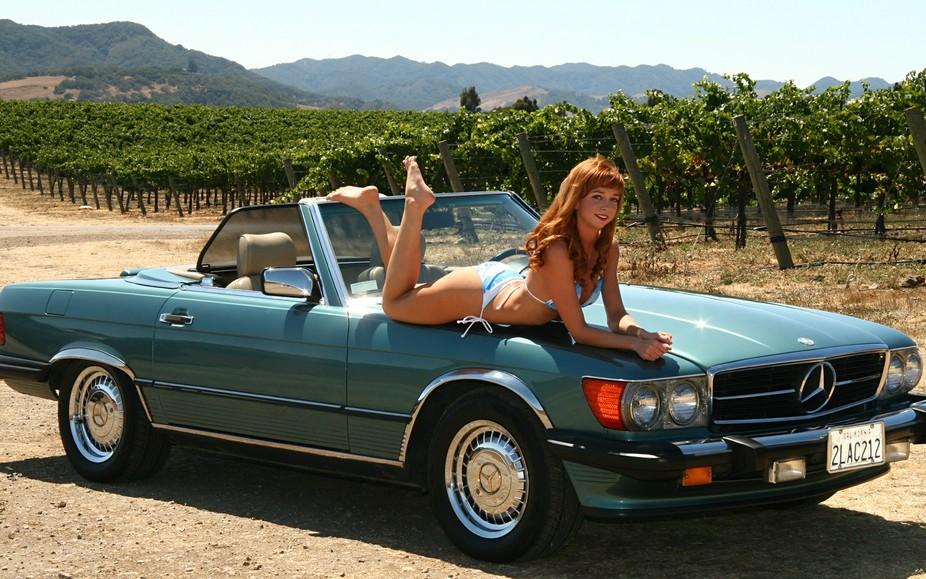 Both the car and the model are sleek and smooth. Enjoying a beautiful California vineyard, Mandy ...