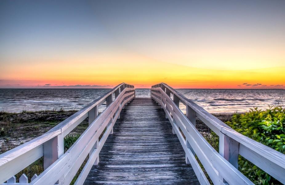 Sunrise on the Chesapeake Bay in Norfolk Virginia.