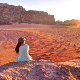 Watching the sun go down over the desert at Wadi Rum in Jordan