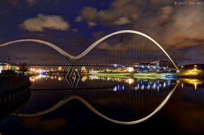 The Infinity Bridge at night