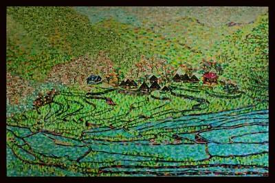 Mosaic Cloth Batad Rice Terraces Philippines