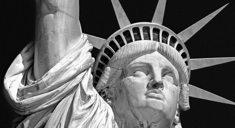 A close up of the Statue of Liberty in New York.