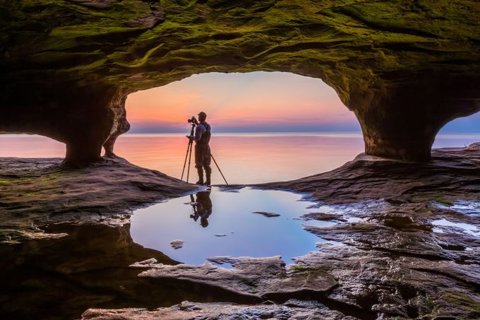 Photographer In Seacave by KennethKeifer - People And Water Photo Contest 2017