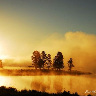 Sunrise in Yellowstone with reflection on the Madison River