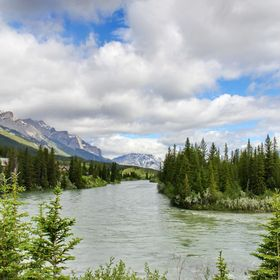 Bow River in the heart of Canmore, Alberta