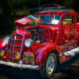 A 1935 Plymouth coupe with a rumble seat