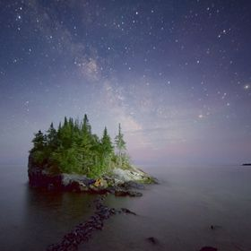 The Milkyway over the Rock on Lake Superior.