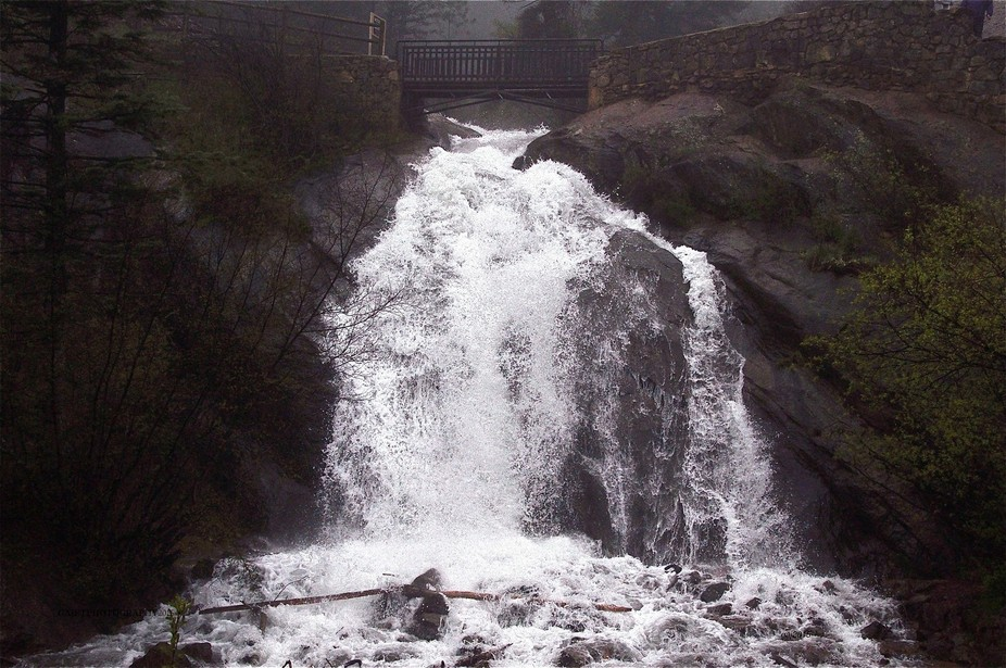 Normally this waterfall in Colorado Springs is only a trickle but the largest rainfall in decades...