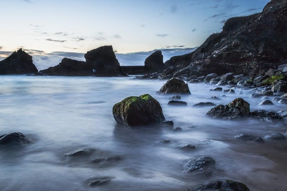 A long exposure shot on Bedruthan Steps beach
