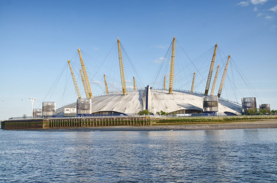 The Greenwich O2 stadium photograph taken from the Thames