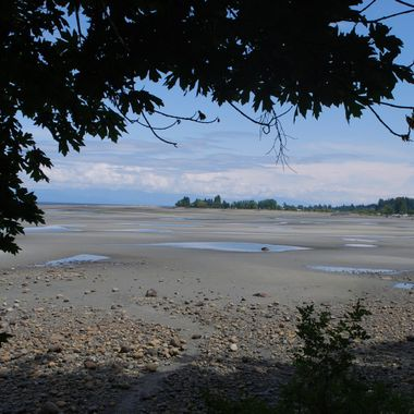 May 15, 2014 - Parksville Bay beach with tide ou,t looking towards end of park