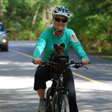 Bike Riding Lady with her little Yorkie in Sunglasses May 2015 Rathtrevor