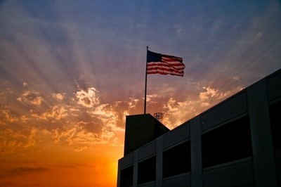 The flag at sunset