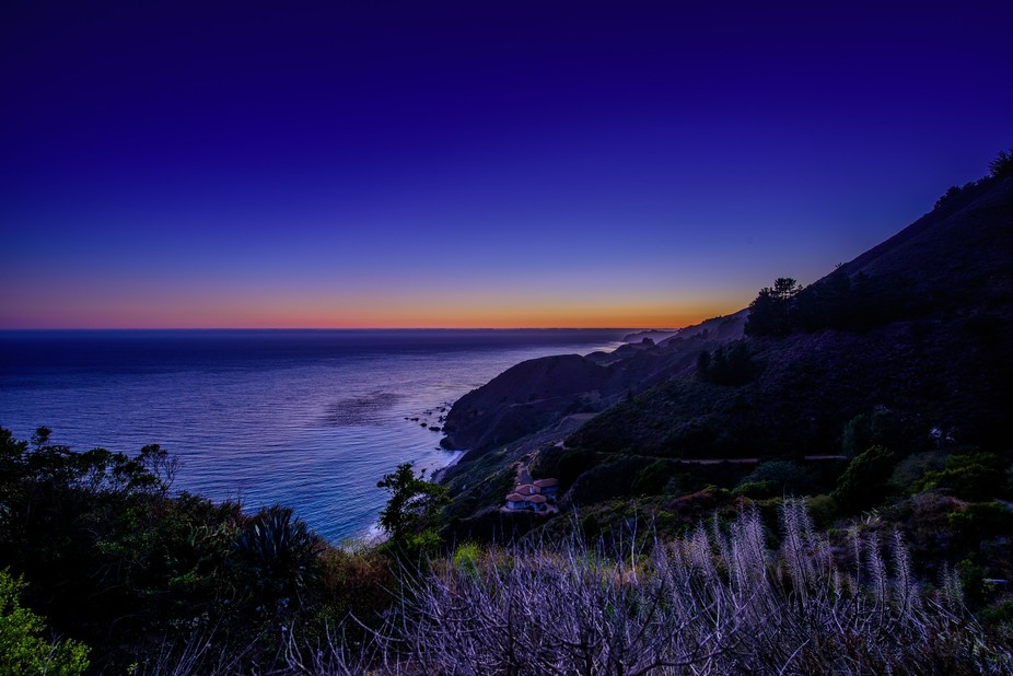An HDR Image of the Sunset looking over the Central CA Coast Beaches near Big Sur!