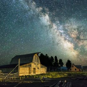 This old barn has stood witness to Milky Way shows over the years.   (Single shot)