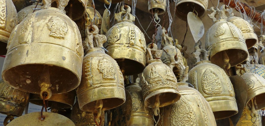 A collection of bells around the Big Buddha in Phuket, Thailand.