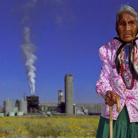 Emma Yazzie as photographed by me at the age of 94 in front of the Four Corners Power Plant. -in her front yard- Fruitland, NM, USA. She and her ...