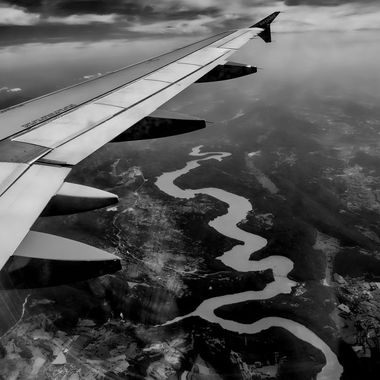 This photograph was taken from an aeroplane crossing a French river