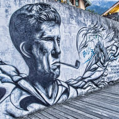 A wall decorated with a graffiti mural in Chamonix