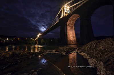 menai bridge moonlight