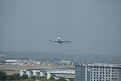 Emirates Airbus A380 Taking off Heathrow