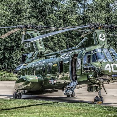 This is CH-46 number 153369 just after it came to a stop on the apron outside of the National Air and Space Museum's Steven F. Udvar-Hazy Center in Chantilly, Virginia on August 1, 2015. This was the last flight of the Marine Corps' last CH-46 (affectionately known within the Corps as the phrog) marking an end to a combat history spanning more than 50 years. It was pure dumb luck that I was there to take this photo as my sons and I had only the night before decided to visit the museum on that day.