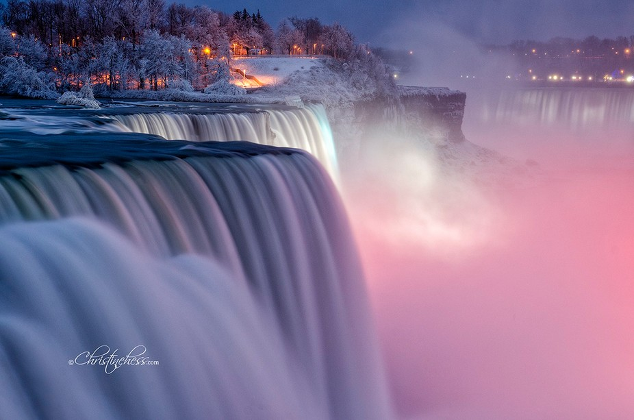 One of my first long exposures of the American Falls on a winter night.