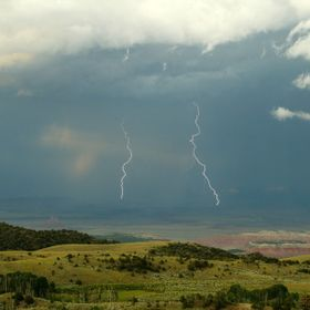 This photo, taken from the Thousand Lake Plateau,UT, shows a thunderstorm lumbering over the desert.