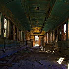 Abandoned and forgotten Trolley car on private property located in Jacumba  Calif. USA.. Second image in gallery.