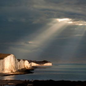 Evening rays over the Seven Sisters cliffs on the south coast of England