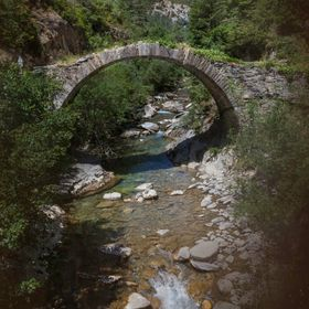 Bridge over the river Esca. The Roncal Valley. Spain