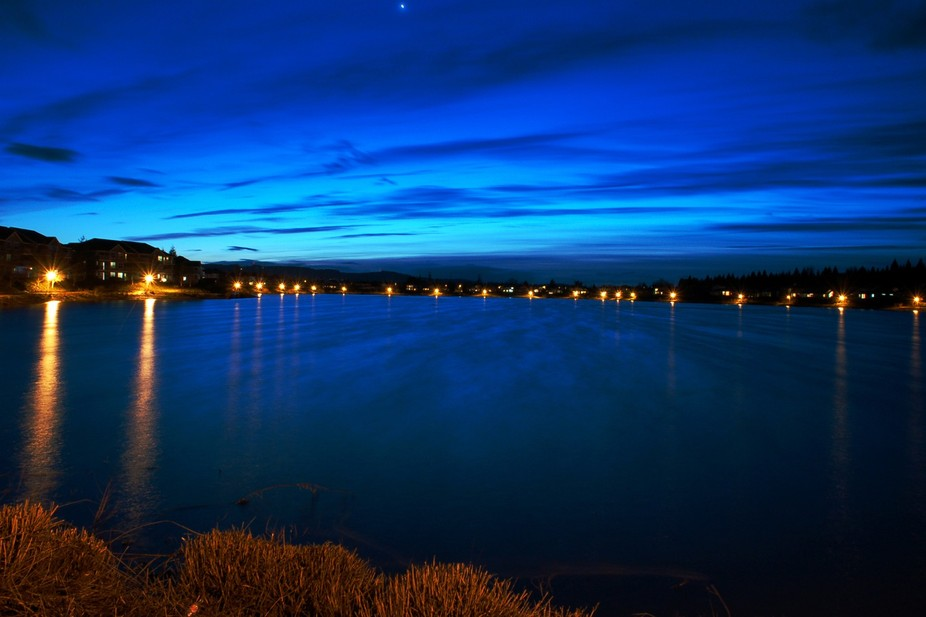 True blue sunset over Staats Lake