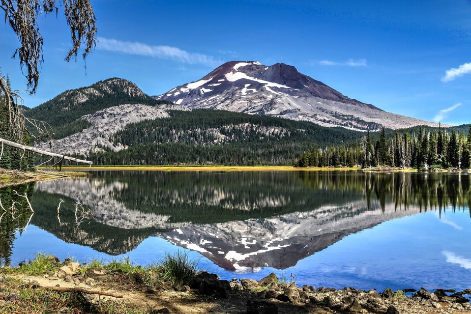 South Sister, one of the three sisters viewed from the bank of Sparks Lake along the Cascades Sce...