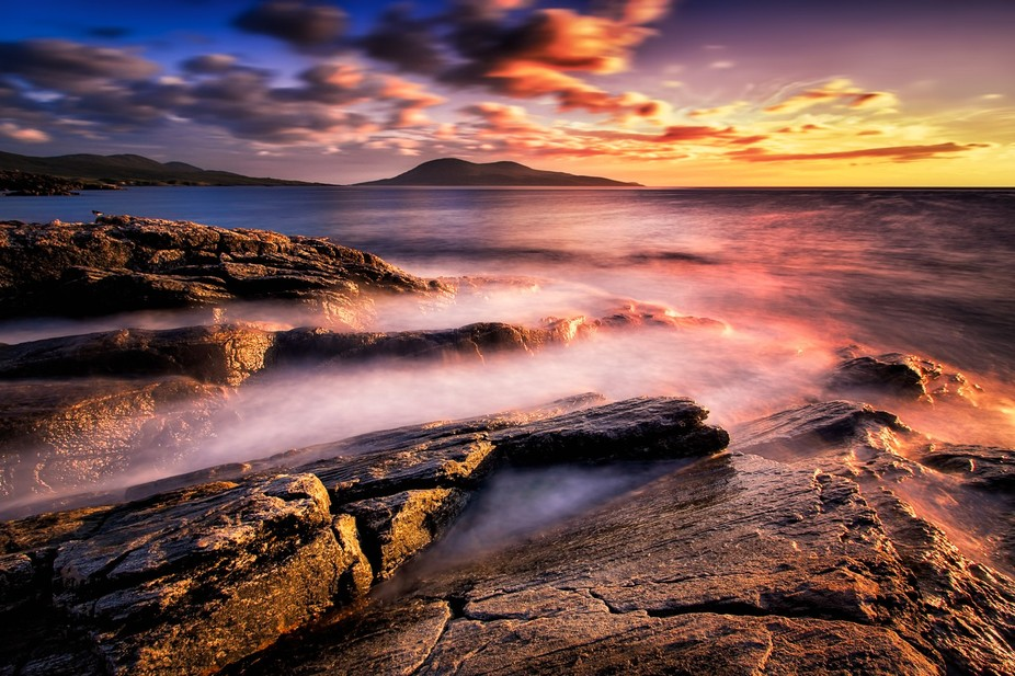 Sunset of the west coast of the Isle of Harris in the Outer Hebrides