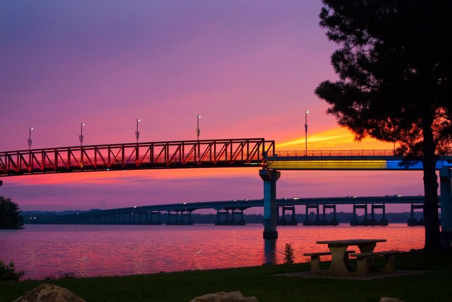 Two Rivers pedestrian bridge in Little Rock, Arkansas. Taken at sunrise.