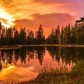 Sunset at Goose Lake, California . This picture was taken just before the wind came up and we had an incredibly thunder and lightning storm. A fe...