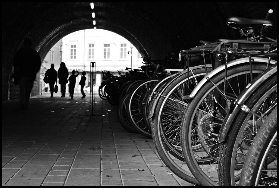 bikes are everywhere in bath ... this is the underpasss from the train station