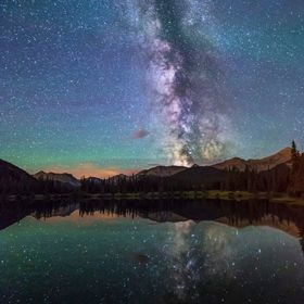 On a calm night I went to my favorite pond in one of the darkest places in the mountains. Here the Milky Way is so bright that it reflects in the...