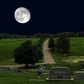Moon Over Cemetary