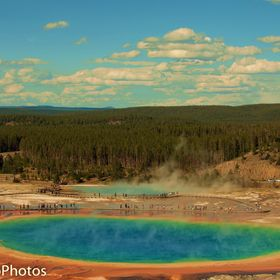 A small steep hike up a hill behind the Grand Prismatic gives you a full view of the colors and grandeur of the largest hot spring in Yellowstone...