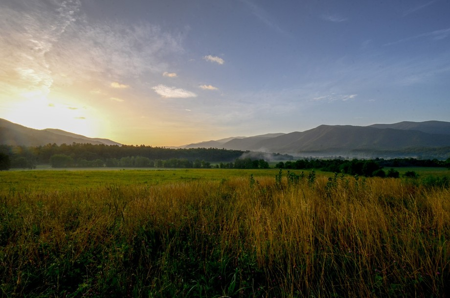 This photo was taken in Great Smoky Mountain National Park. It was sunrise in Cade\'s Cove.