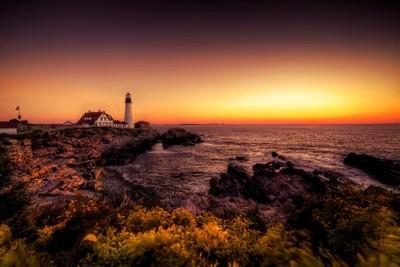 Sunrise over Portland Head Lighthouse