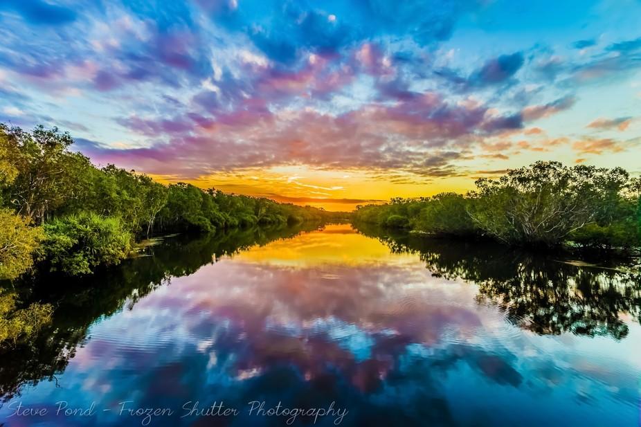 Sunset over a Kakadu Billabong, Kakadu National Park, Northern Territory, Australia.