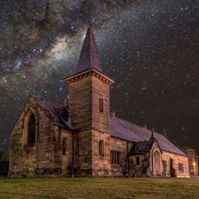 2 Image composite  of Milky way and Sister of Mercy Convent.