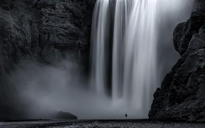 waterfall portrait